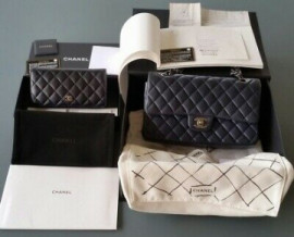 authentique sac main bag chanel cuir +portefeuille Montjoux